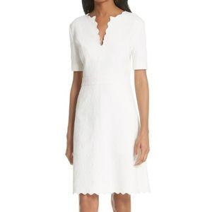 Nwt $448 Tory Burch Bailey scallop white dress 6